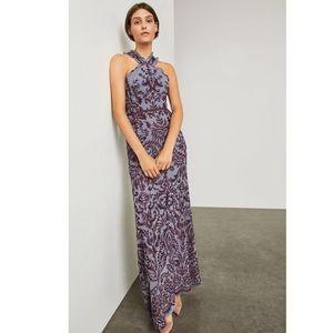 BCBG NWT Embroidered Chiffon Halter Gown